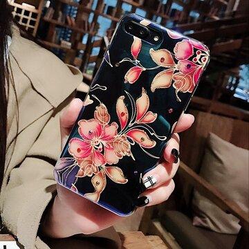 Étui de téléphone en gel de silice de style fleur vintage