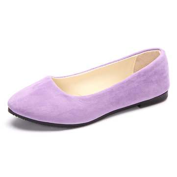 Big Size Suede Candy Color Pure Color Pointed Toe Light Slip On Flat Shoes, White royal blue green pink brown dark blue black yellow gray wine red orange khaki rose dark green light purple
