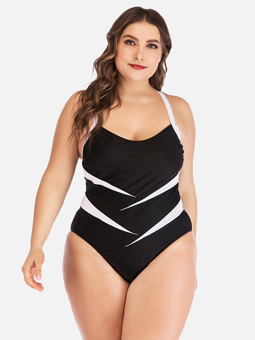 Plus Size Patchwork Backless One Piece