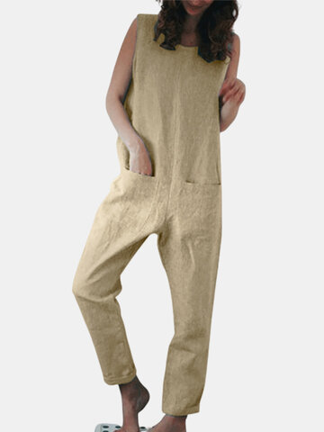 Sleeveless Pockets Solid Color Jumpsuit