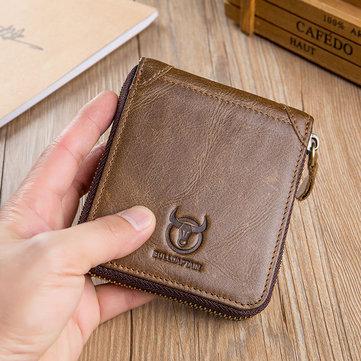 Bullcaptain Retro Rindleder Brieftaschen Reißverschluss Kurze Kartenhalter