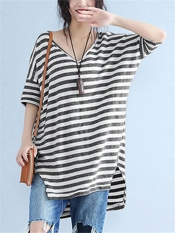 Striped V Neck T-Shirt