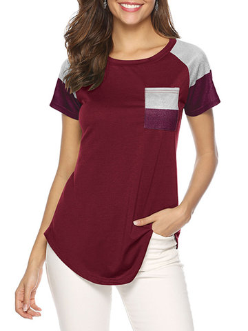 Casual Striped Patchwork T-shirt