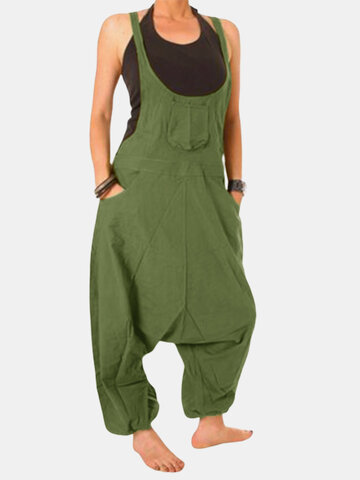 Solid Color Drop Crotch Jumpsuit