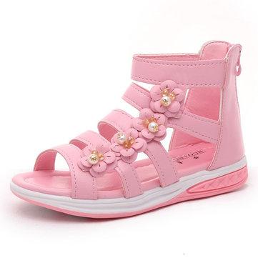 Girls Flowers Zipper Comfy Sandals