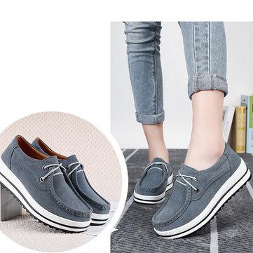 Chaussures plates en cuir daim