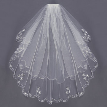 2 Layers Bride Elbow Beaded Edge Embroidery Pearls Bridal Veil With Comb, White white