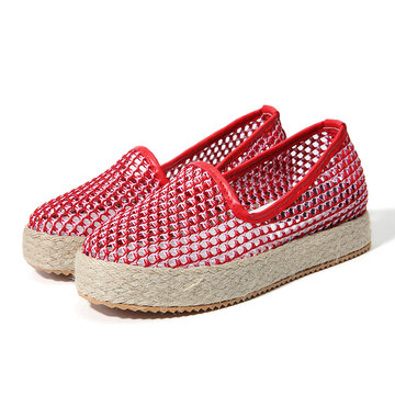 b72f4727e46 Hollow Out Slip On Platform Casual Shoes