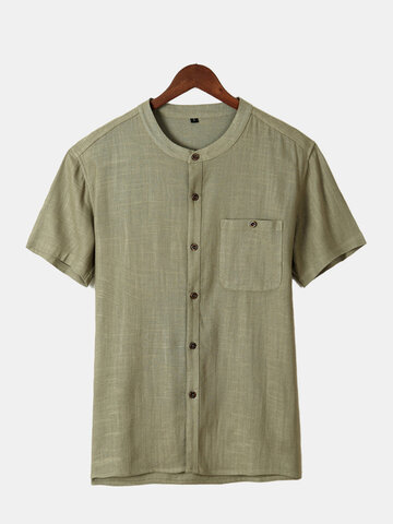 Pure Color Button Up Cotton Shirts