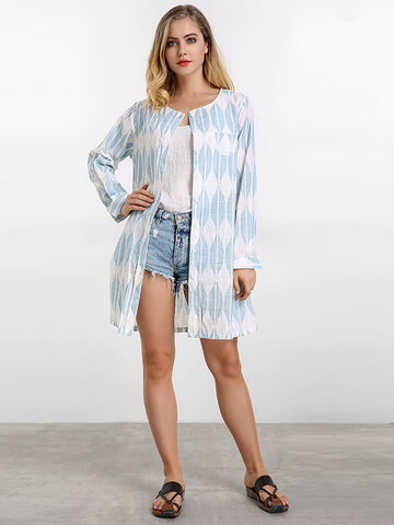 Women Printed Long Cardigan