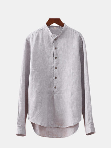 Mens Casual Cotton Linen Loose Fit T-Shirts