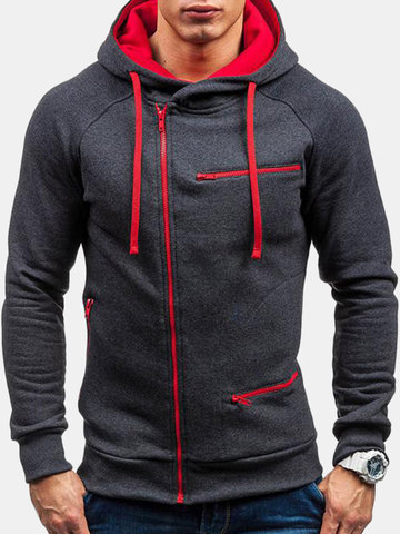 Men's Casual Sport Tilted Zipper Up Drawstring Hoodie