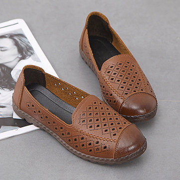 Soft Leather Hollow Slip On Flats