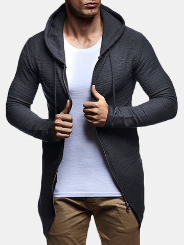Mid Long Style Zipper Casual Hoodies
