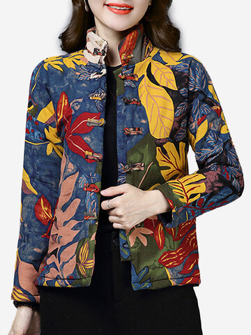 Frog Button Floral Print Vintage Coat
