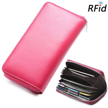 RFID Women Genuine Leather 30 Card Slot Phone Purse