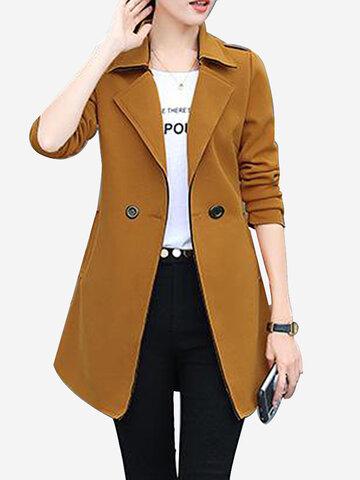 Long manteau coupe-vent couleur unie mince