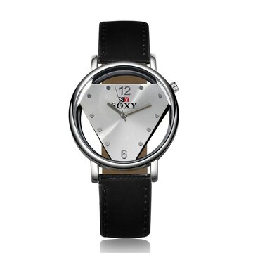 SOXY Simple Watch Alloy Hollow Triangle Luxury Leather Watch, White black