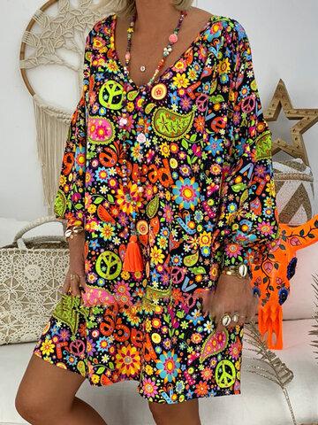 Print Floral V Neck Summer Dress