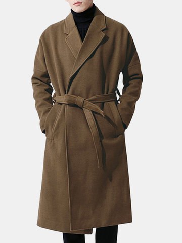 Men Woolen Belt Thicken Warm Overcoat