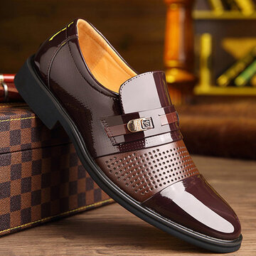 Men Leather Splicing Business Casaul Formal Shoes