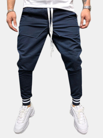 Mens Sports Cotton Drawstring Solid Color Jogger Pants