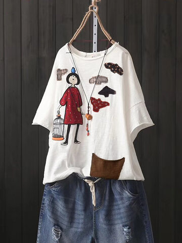 Cartoon Patch Short Sleeve T-Shirt