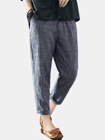 Bolsillos a rayas de la vendimia pantalones