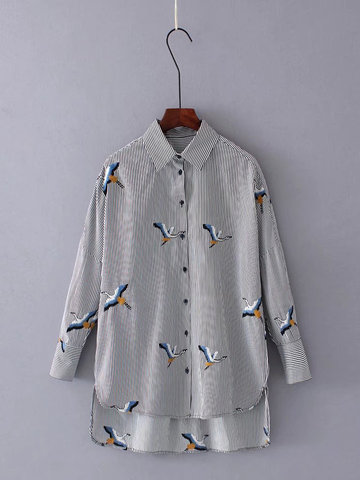 Casual Lapel Striped Embroidery Blouse
