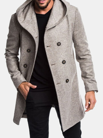 Men Hooded Solid Color Trench Coat