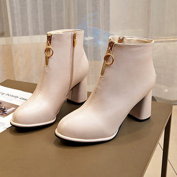 Thick High-heeled Ankle Boots