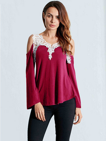 Lace Patchwork Off Shoulder T-shirts