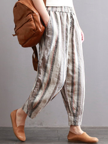 Vintage Elastic Waist Striped Pants