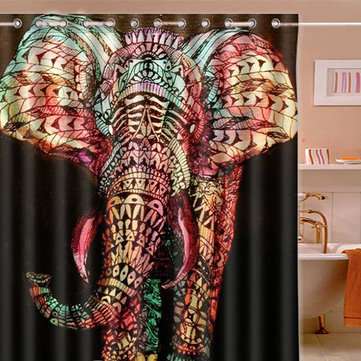 165*180cm Colorful Elephant Waterproof Printing Shower Curtain  Brand New Curtains