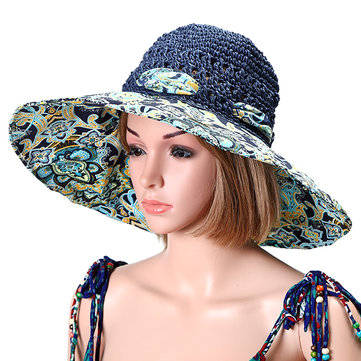 Fashion Women Foldable Large Wide Brim Beach Sun Straw Hat Casual Vacation  Floppy Visor Cap e01d6cb8e46
