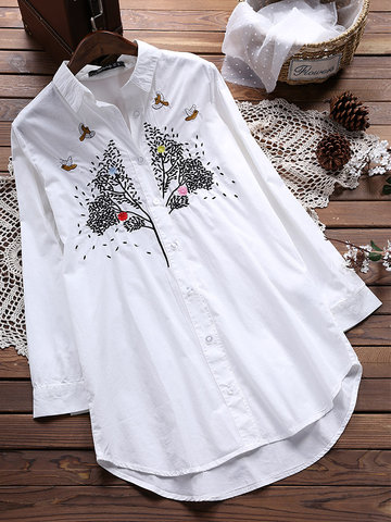 Lapel Embroidery Button Blouse