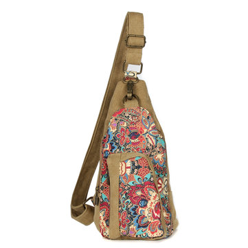 Brenice Canvas Chest Bags National Flower Crossbody Bags