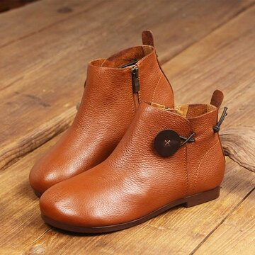 SOCOFY Genuine Leather Button Stitching Ankle Zipper Vintage