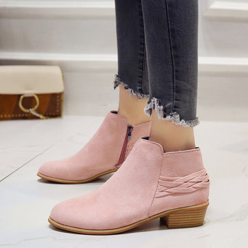 Chelsea Braided Suede Zipper Boots