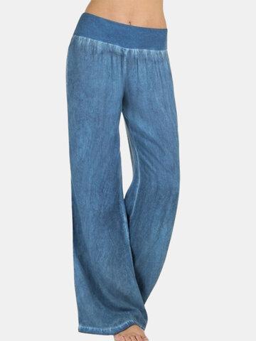 Pantalones de talle medio y pernera ancha