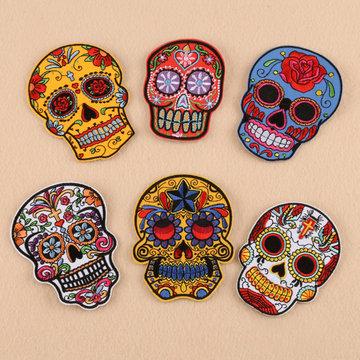 Patch de couture bricolage crâne coloré 10 * 8cm