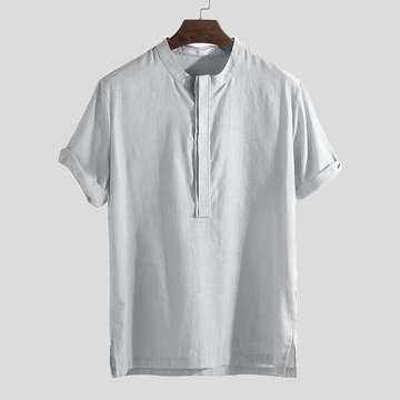 National Style Thin Short Sleeve Henley Shirt