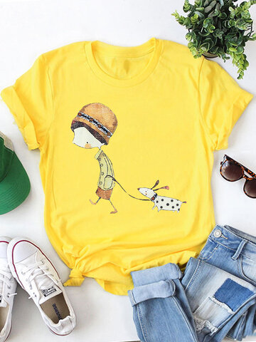 Lässige T-Shirt mit Cartoon-Print