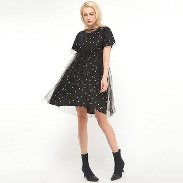 newchic / Women's Round Neck Star Print Short-sleeved Dress + Mesh Two-piece