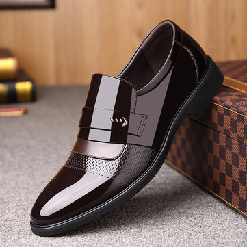 Men Microfiber Leather Business Formal Dress Shoes