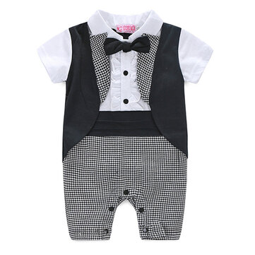 Formal Suit Style Baby Boy Romper