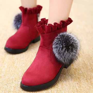 Girls Suede Fur Ball Zipper Short Boots