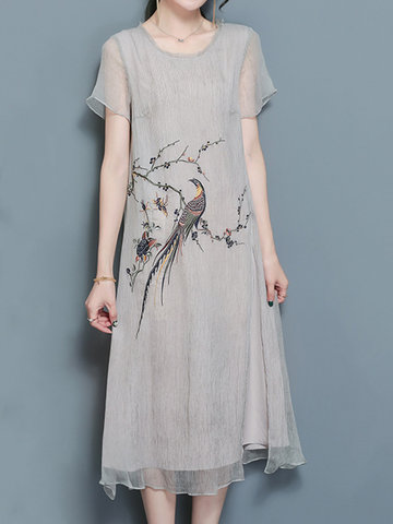 Women Birds Embroidered Short Sleeve Chinese Style Dresses