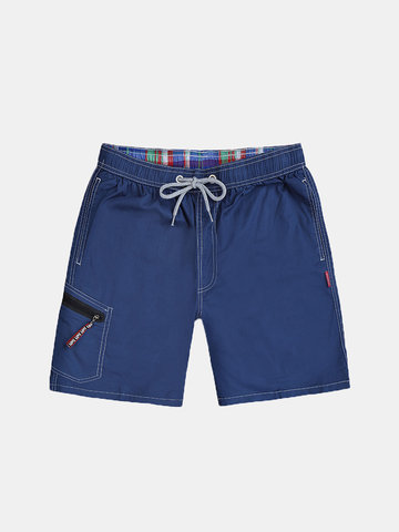 Zipper Pocket Solid Color Shorts
