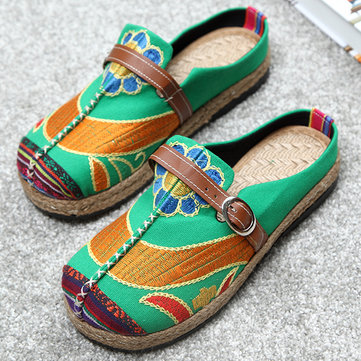 Colorful Embroidered Backless Loafers